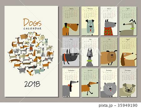 Funny dogs, calendar 2018 design 35949190