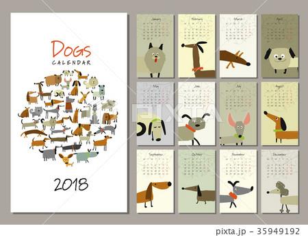 Funny dogs, calendar 2018 design 35949192