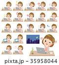 女性 若い ノートパソコンのイラスト 35958044