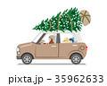 クリスマスツリー 運ぶ 車のイラスト 35962633