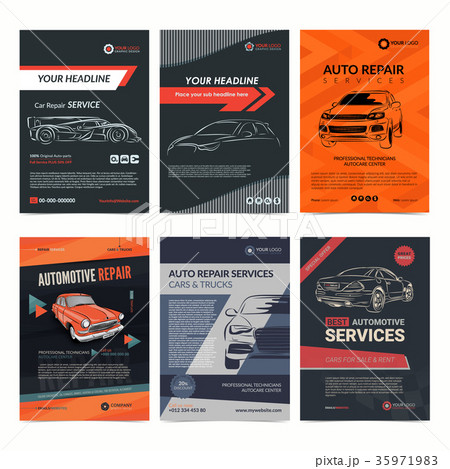 auto repair services business layout templatesのイラスト素材
