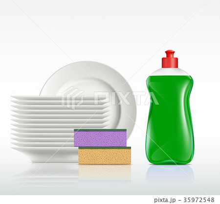 plates and a bottle with detergent 35972548