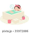 女性 お風呂 バスタイムのイラスト 35972886