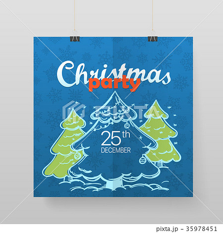 christmas party vector poster party announcementのイラスト素材