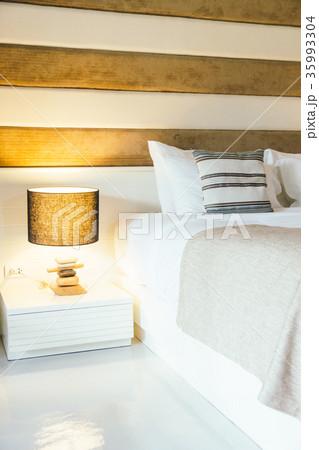 Pillow on bed decoration in bedroom interiorの写真素材 [35993304] - PIXTA