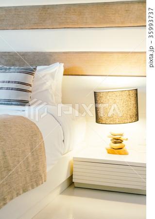 Pillow on bed decoration in bedroom interiorの写真素材 [35993737] - PIXTA