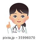 女医 指差し 上半身のイラスト 35996070