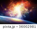 Sci-fi background - spiral galaxy and planet Earth 36002981
