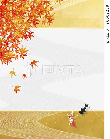 和風背景素材川の流れ紅葉金魚のイラスト素材 36003259 Pixta