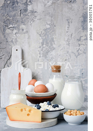 Dairy products on gray concrete backgroundの写真素材 [36005761] - PIXTA