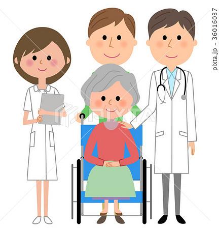 白衣の男性 看護師 車椅子の患者  36016037