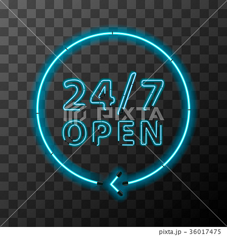 bright neon around the clock sign 24 hours openのイラスト素材