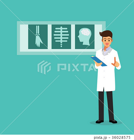 Doctor showing X-ray films 36028575