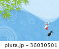 和を感じる背景素材 (金魚、水面、青紅葉) 36030501