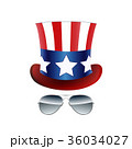 American cowboy, USA flag Hat and Glasses. Vector 36034027