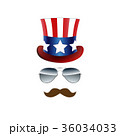 American cowboy, USA flag Hat and Glasses. Vector 36034033
