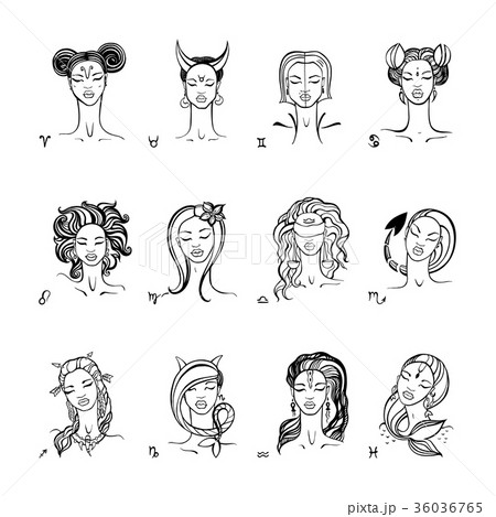 Zodiac sign. Beautiful fashion girl. Vector hand 36036765