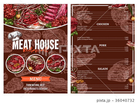 barbecue meat menu for restaurant brochure designのイラスト素材