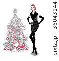 クリスマス クリスマスツリー 女性のイラスト 36043144