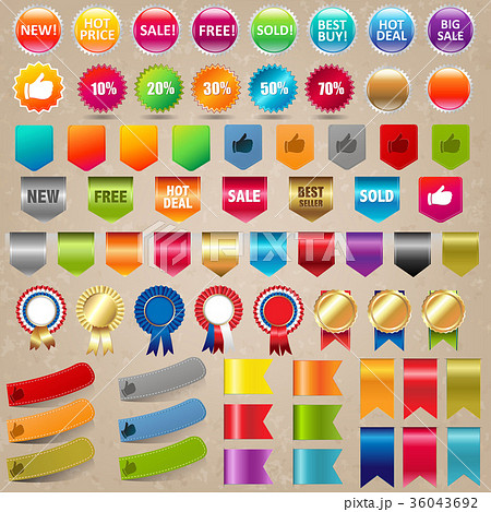Big Collection Sale Stickers And Web Ribbon Set 36043692