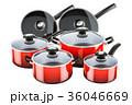 鍋 フライパン 赤いのイラスト 36046669