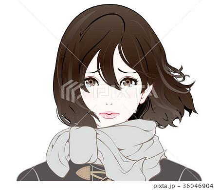 女性の表情 冬服 泣き顔 なびく髪のイラスト素材 36046904 Pixta