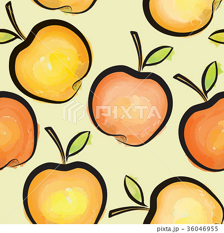 apple seamless pattern juicy fruits backgroundのイラスト素材