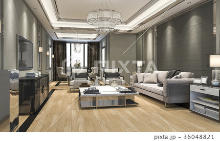 luxury and modern living room and dining roomのイラスト素材