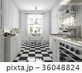 beautiful scandinavian kitchen with black tile 36048824