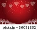 クリスマスのイメージ背景イラスト|赤 夜景と雪の結晶で描いたハートのオーナメント|Christmas 36051862