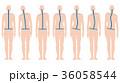 背骨 姿勢 後姿のイラスト 36058544