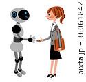 AIと握手する女性会社員 36061842
