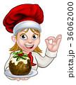 クリスマス 女性 料理のイラスト 36062000