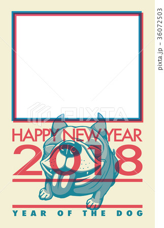 2018年賀状_フレンチブルドッグのフォトフレーム_添え書きスペース空き 36072503