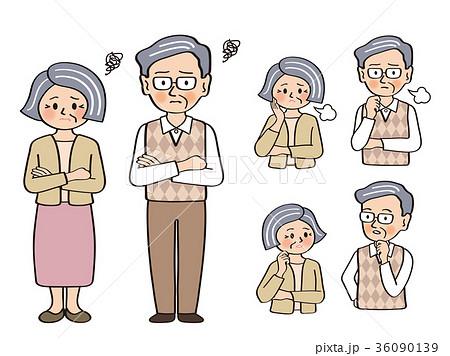 シニア夫婦01.悩む,ため息,会話 36090139