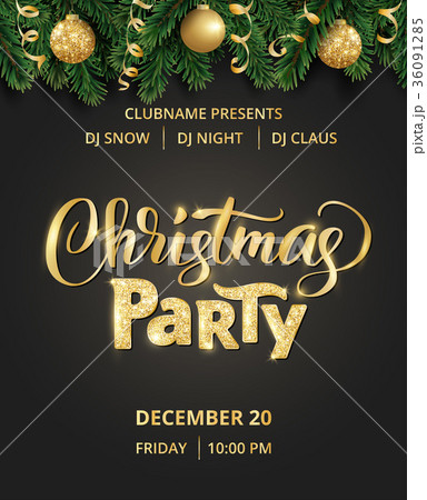 christmas party poster hand written letteringのイラスト素材