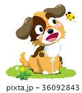 犬 たんぽぽ 蝶のイラスト 36092843