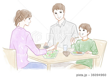 家族の食事風景のイラスト素材 36094960 Pixta