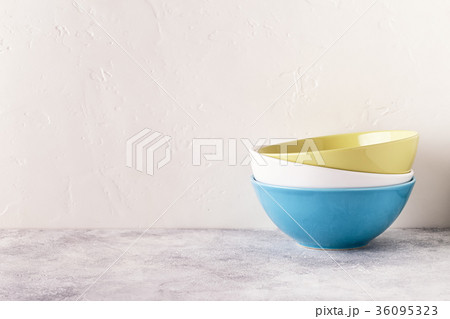 Crockery and cutlery on a light table.の写真素材 [36095323] - PIXTA