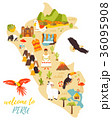 Tourist map of Peru with different landmarks 36095908