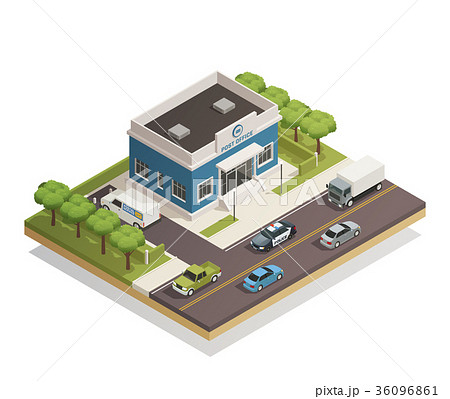 Post Office Building Outdoor Isometric  36096861