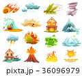 Natural Disasters Cartoon Icons Set 36096979