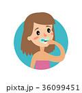 女性 ベクトル 歯ブラシのイラスト 36099451