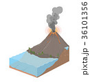 Earth slice with ocean and volcanic eruption 36101356
