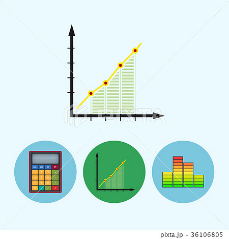set icons with calculator diagram chart scheduleのイラスト素材