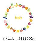いろいろな果物のリース、円形フレーム 36110024