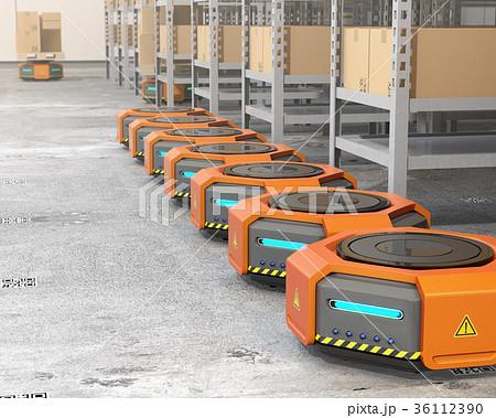 物流センターにある待機中の自動運搬ロボット。物流支援ロボットのコンセプト 36112390