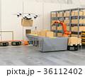 ロボット 倉庫 ドローンのイラスト 36112402