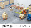ロボット 倉庫 ドローンのイラスト 36112405