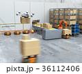 ロボット 倉庫 ドローンのイラスト 36112406